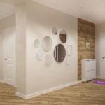 Визуализация прихожей 14 кв.м в светлых тонах, композиция из круглых зеркал, пвх плитка, галошница, межкомнатная дверь, потолочные светильники