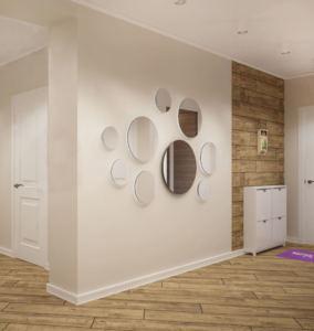Дизайн-проект прихожей-коридора 14 кв.м в древесных тонах, белые накладные светильники, пвх плитка, галошница