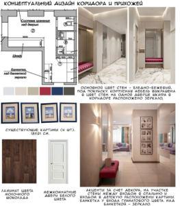 Концептуальный дизайн прихожей 6 кв.м и коридора 14 кв.м в бежевых и белых тонах, темная пвх плитка, декор, белый шкаф