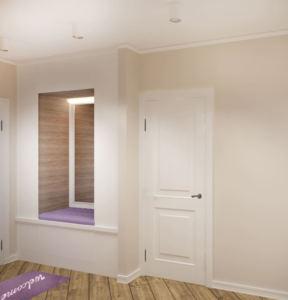 Дизайн-проект прихожей-коридора 14 кв.м в белых и бежевых тонах, лавандовая скамья, белый шкаф, зеркало