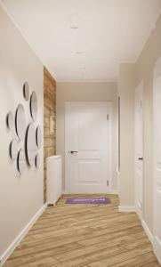 Проект прихожей-коридора 14 кв.м в белых и бежевых тонах, зеркало, белая галошница, пвх плитка, светильники