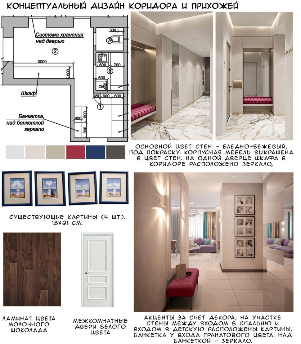 Концептуальный дизайн коридора и прихожей 14 кв.м, ламинат, бордовая тумба, плитка, белый шкаф, зеркало