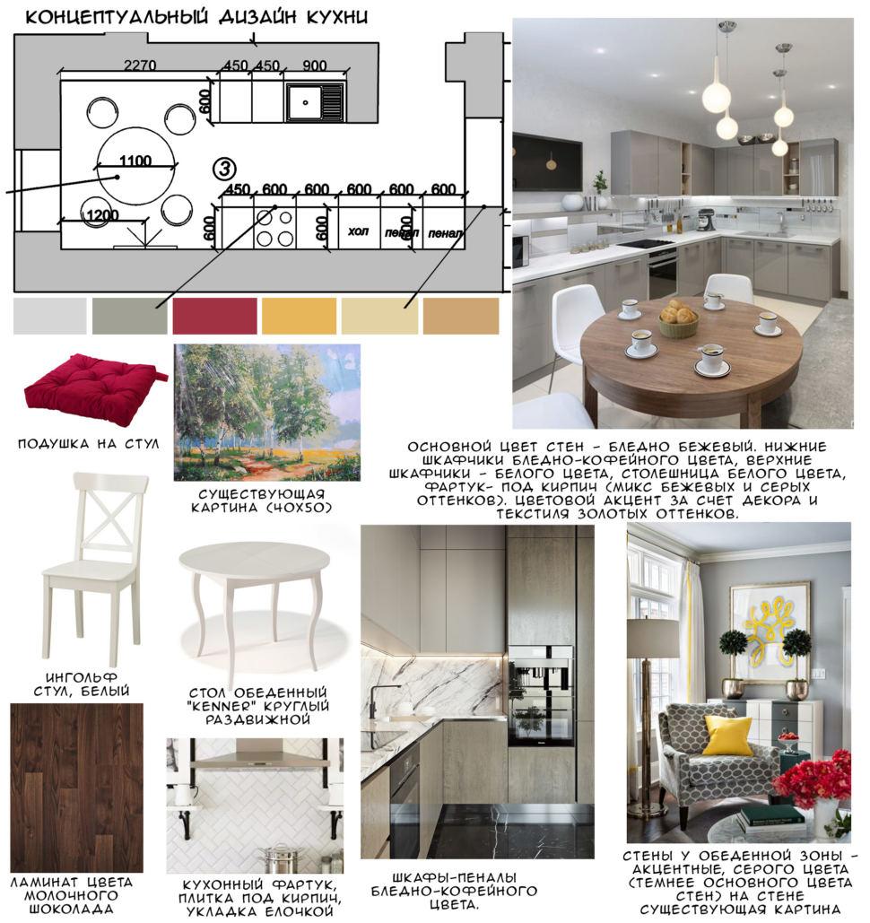 Концептуальный дизайн кухни 14 кв.м, белый обеденный стол, стулья, темный ламинат, кухонный гарнитур, картина