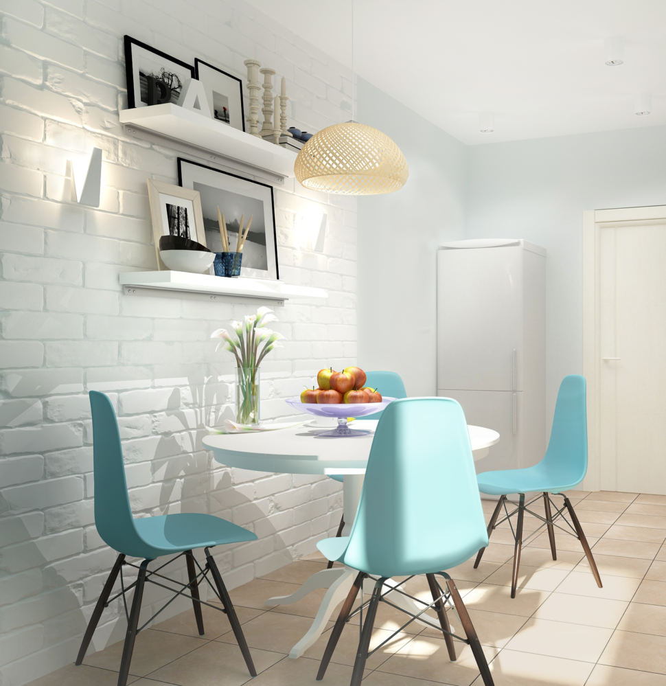Интерьер кухни 11 кв.м в светлых тонах с акцентами, белые подвесные полки, обеденный стол, стулья, люстра, холодильник