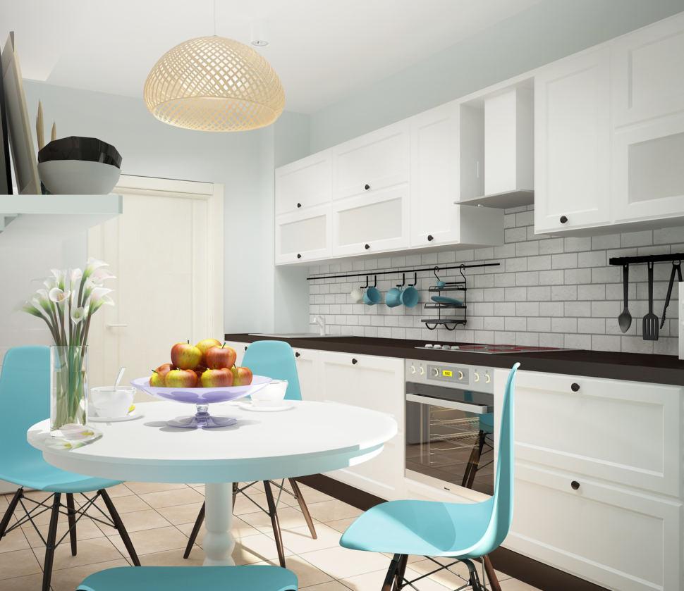 Дизайн проект кухни 11 кв.м в светлых тонах с акцентами, белый кухонный гарнитур, обеденный стол, бирюзовые стулья, люстра, паркет