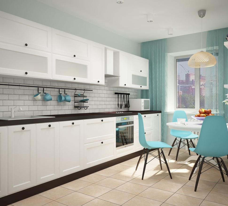 Визуализация кухни 11 кв.м в светлых тонах с акцентами, круглый стол, портьеры, акцентные стулья, кухонный гарнитур, люстра