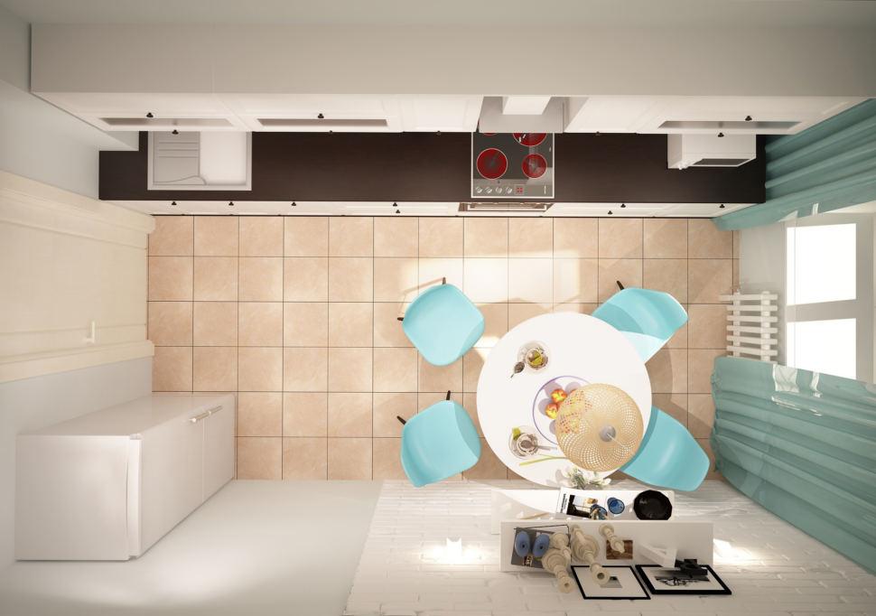 Интерьер кухни 11 кв.м в светлых тонах с акцентами, круглый стол, портьеры, акцентные стулья, кухонный гарнитур