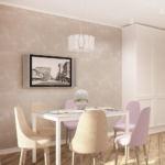 Интерьер кухни 14 кв.м в бежевых тонах с лавандовыми оттенками, белый обеденный стол, люстра, мягкие стулья, телевизор