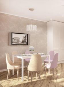 Интерьер кухни 14 кв.м в древесных тонах, подвесной светильник, стол, бежевая стулья, паркет