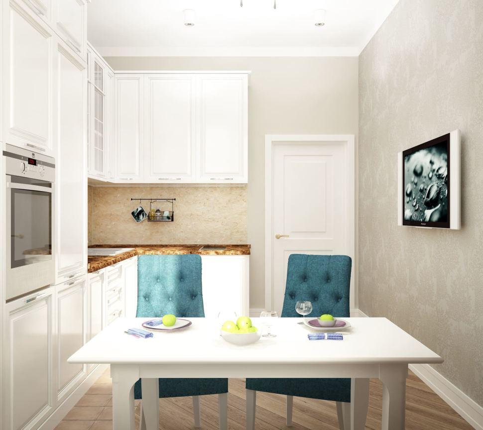 Интерьер кухни 12 кв.м в песочных оттенках с акцентными текстурами, кухонный гарнитур, телевизор, белый обеденный стол, стулья
