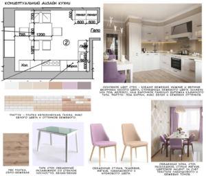 Концептуальный дизайн кухни 14 кв.м в древесных и белых тонах, стул, обеденный стол, кухонный гарнитур