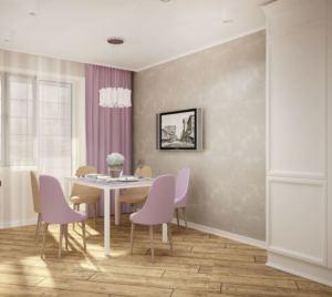 Дизайн-проект кухни 14 кв.м в белых тонах, портьеры, стол, стулья, бежевая пвх плитка