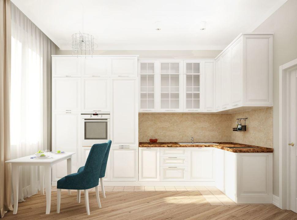Визуализация кухни 12 кв.м в песочных оттенках с акцентными текстурами, белый кухонный гарнитур, акцентная столешница, бирюзовые стулья, пвх плитка, светильники