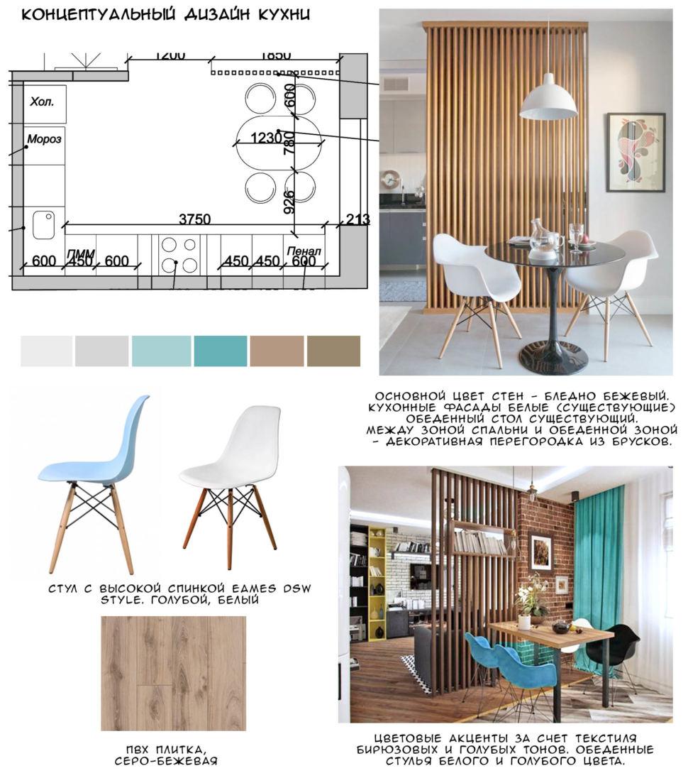 Концептуальный коллаж кухни 13 кв.м в песочных тонах с бирюзовыми оттенками, белый кухонный гарнитур, стол, стулья