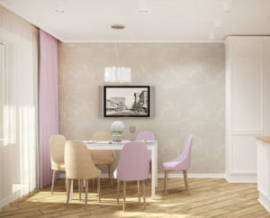 Дизайн-проект кухни 14 кв.м в бежевых и лавандовых тонах, белый шкаф, телевизор, обеденный стол, стулья