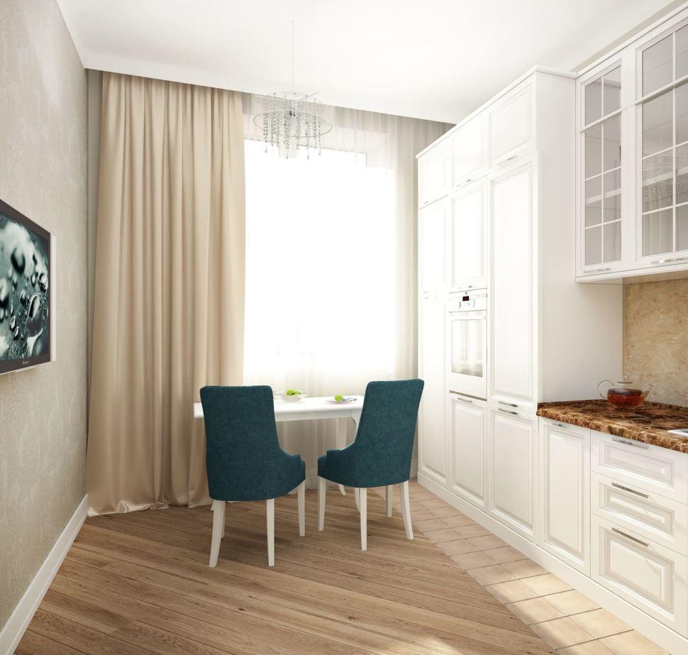 Интерьер кухни 12 кв.м в песочных оттенках с акцентными текстурами, кухонный гарнитур, столешница под мрамор, обеденный стол, стулья