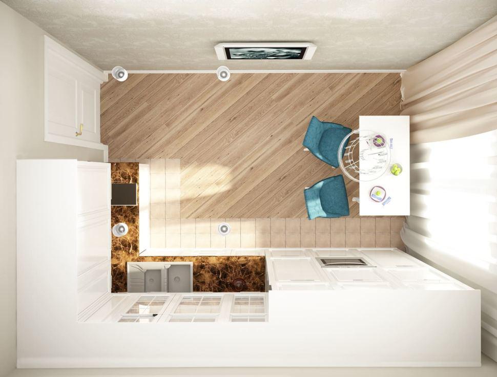 Визуализация кухни 12 кв.м в песочных оттенках с акцентными текстурами, белый кухонный гарнитур, столешница под мрамор, стол, стулья