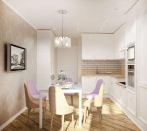 Визуализация кухни 14 кв.м в бежевых и лавандовых тонах, стол, стулья, кухонный гарнитур, подвесной светильник, пвх плитка