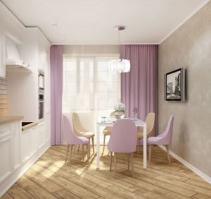 Проект кухни 14 кв.м в древесных тонах, белый обеденный стол, стулья, телевизор