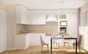 Интерьер кухни 14 кв.м в белых тонах, белый кухонный гарнитур, обеденный стол, стулья, светильники