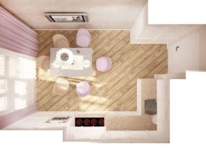 Визуализация кухни 14 кв.м в древесных тонах, белый кухонный гарнитур, телевизор, стол, стулья