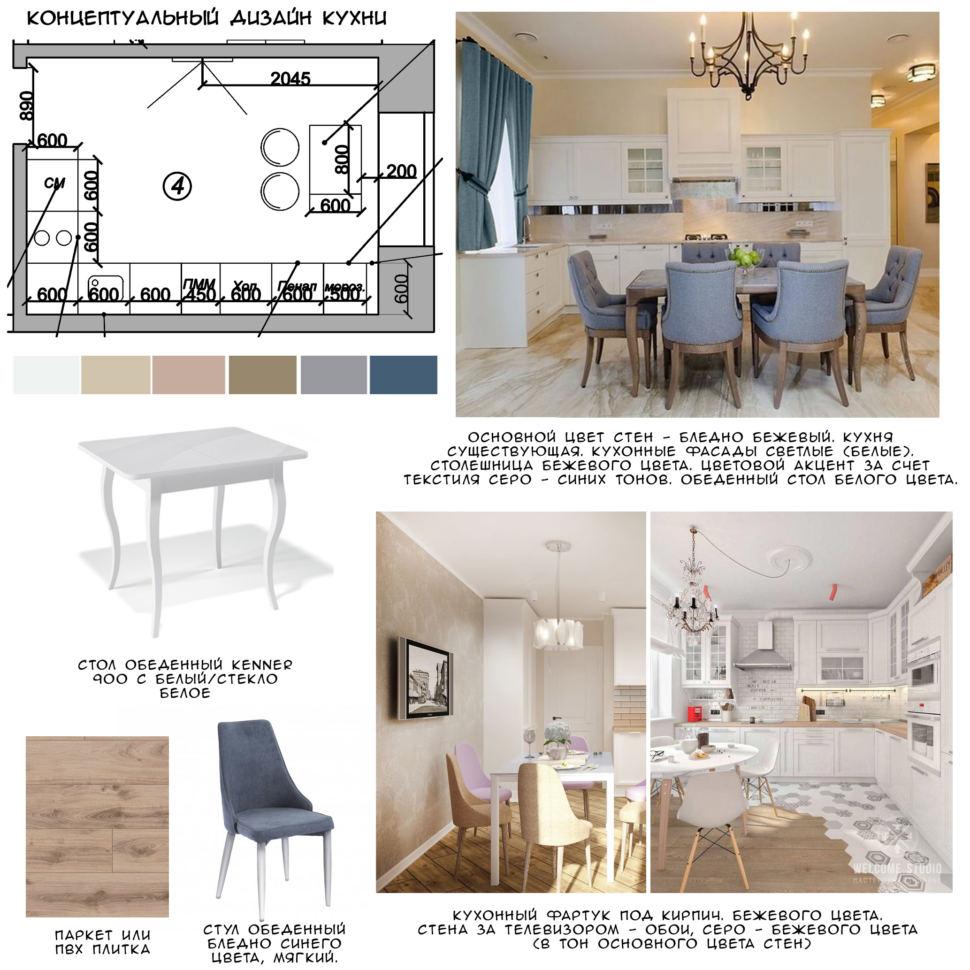 Концептуальный коллаж кухни 12 кв.м, обеденный стол, мягкие стулья, фронт кухонного оборудования, пвх плитка