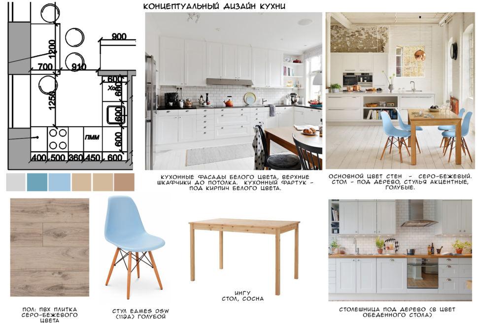 Концептуальный коллаж кухни 23 кв.м, кухонный гарнитур, стулья, стол под дерево, пвх плитка