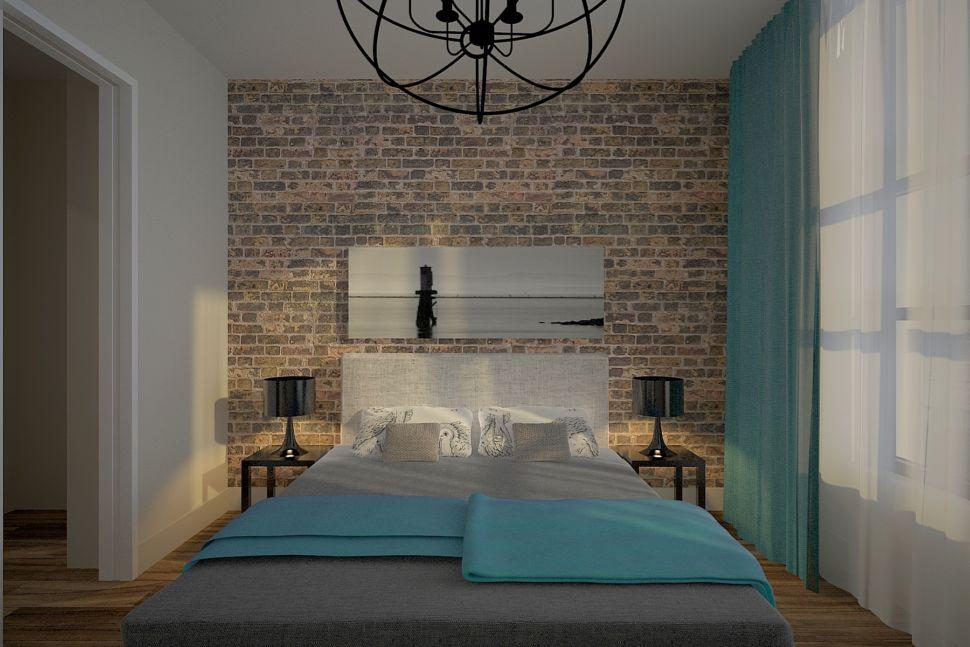 Визуализация спальни 20 кв.м в теплых оттенках с бирюзой, кровать, черные прикроватные тумбы, люстра, красный кирпич