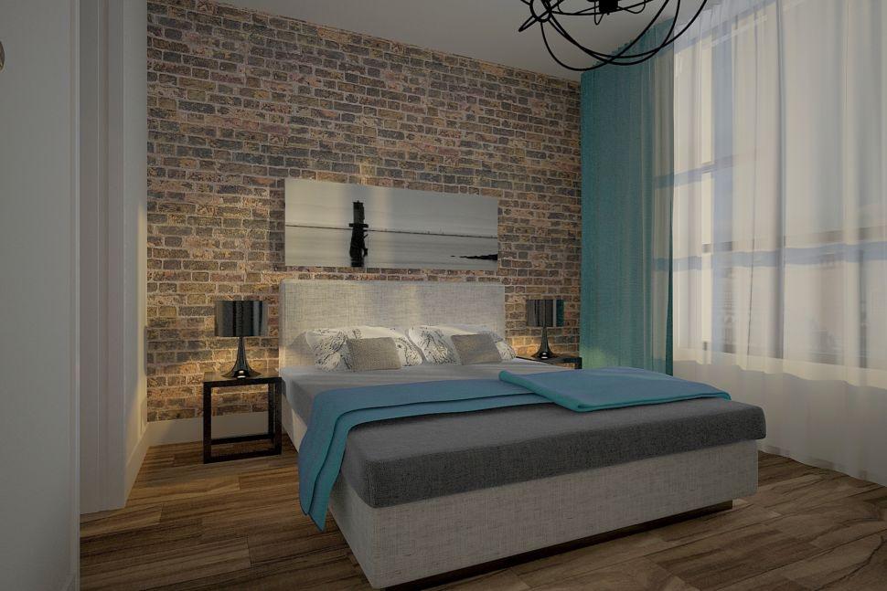 Проект спальни 20 кв.м в теплых оттенках с бирюзой, бирюзовые портьеры, серая кровать, подвесные светильники, акцентная стена