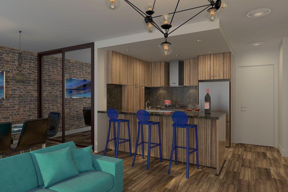 Дизайн-проект кухни 34 кв.м в светлых тонах с акцентными текстурам, синие стулья, барная стойка, кухонный гарнитур, люстра лофт
