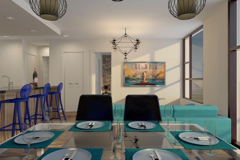 Интерьер кухни 34 кв.м в светлых тонах с акцентными текстурам, обеденный стол, стулья, люстра, посуда