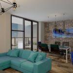 Дизайн кухни 34 кв.м в светлых тонах с акцентными текстурами, обеденный стол, бирюзовый диван, подвесные светильники, паркет