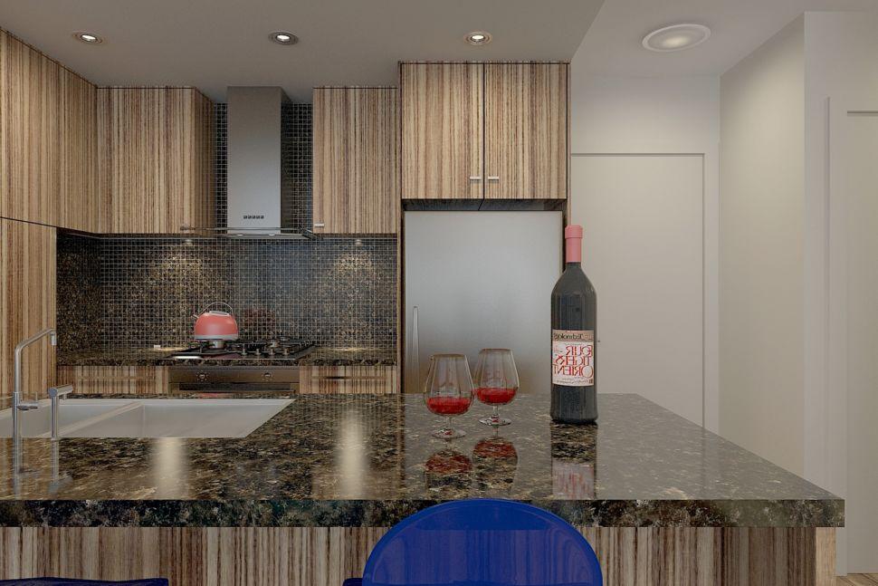 Визуализация кухни 34 кв.м в светлых тонах с акцентными текстурами дерева, столешница, кухонный гарнитур, фартук