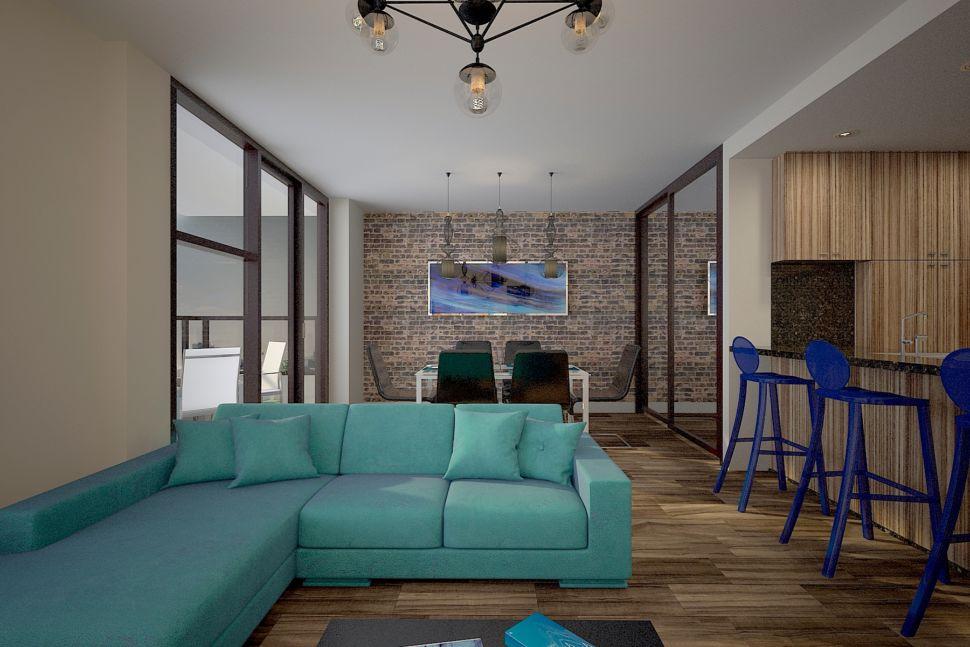 Визуализация кухни - гостиной 34 кв.м в светлых тонах с акцентными текстурам, бирюзовый диван, стулья, барные стулья, паркет, журнальный столик