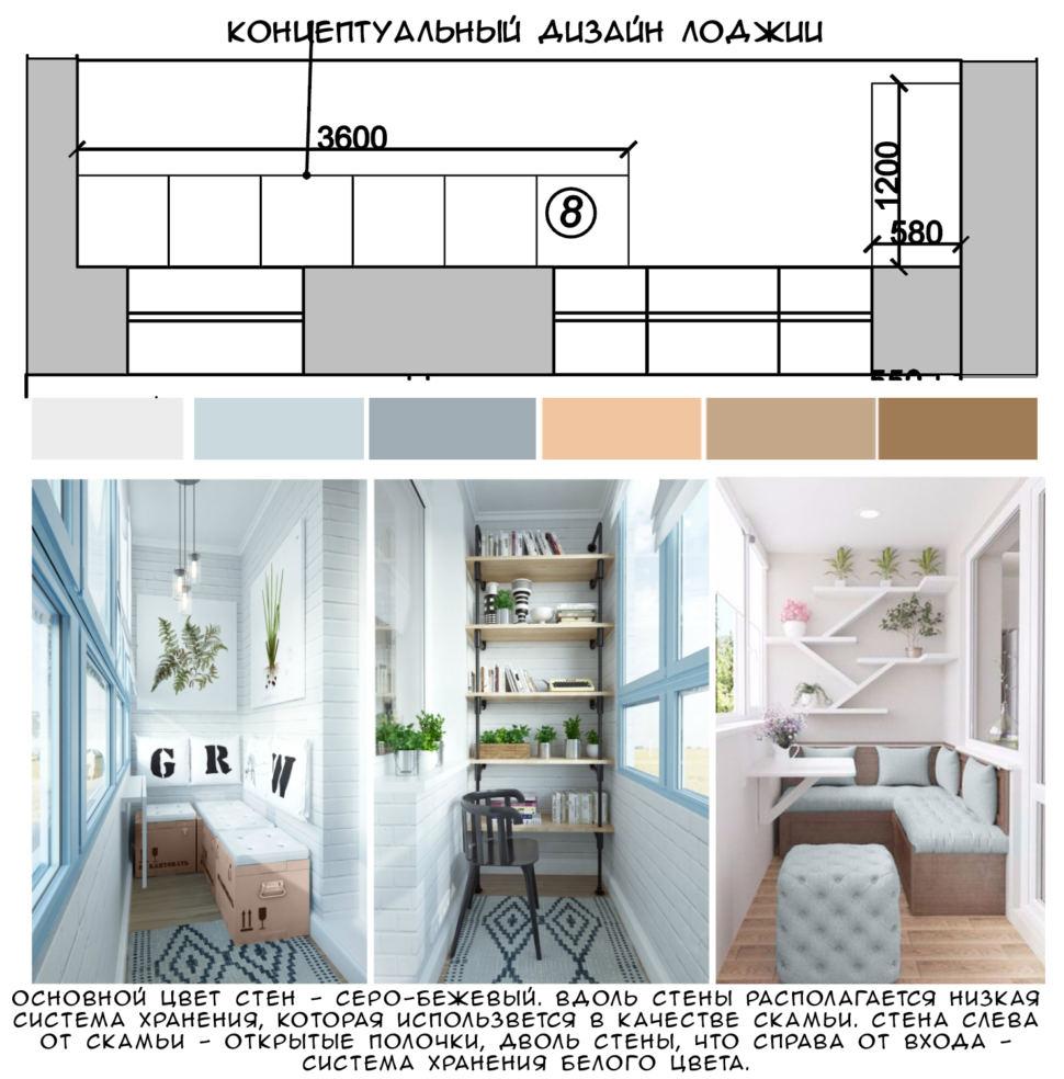 Концептуальный коллаж лоджии 8 кв.м, система хранения белого цвета, скамья, акцентный текстиль