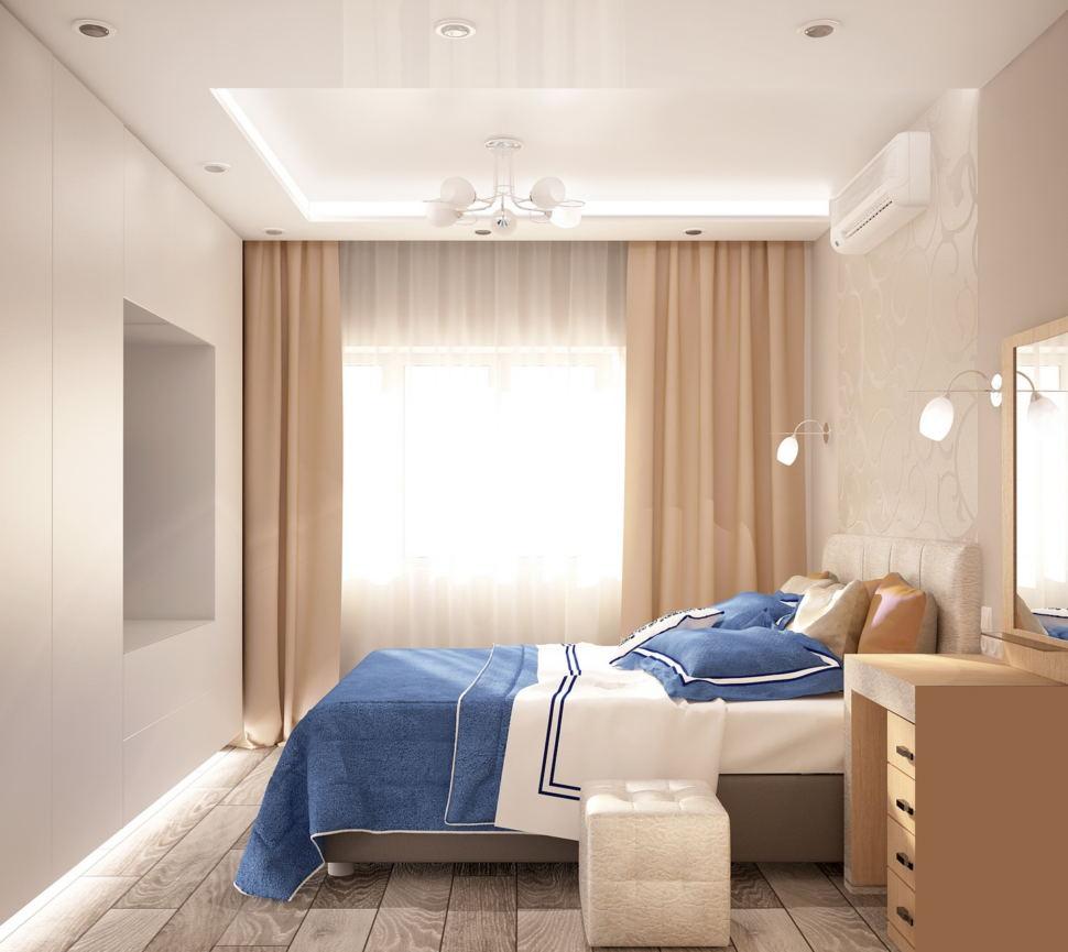 Визуализация спальни 11 кв.м в бежевых тонах с синими акцентами, туалетный столик, тумба, кровать, бежевые портьеры, белый пуф, люстра, белый шкаф