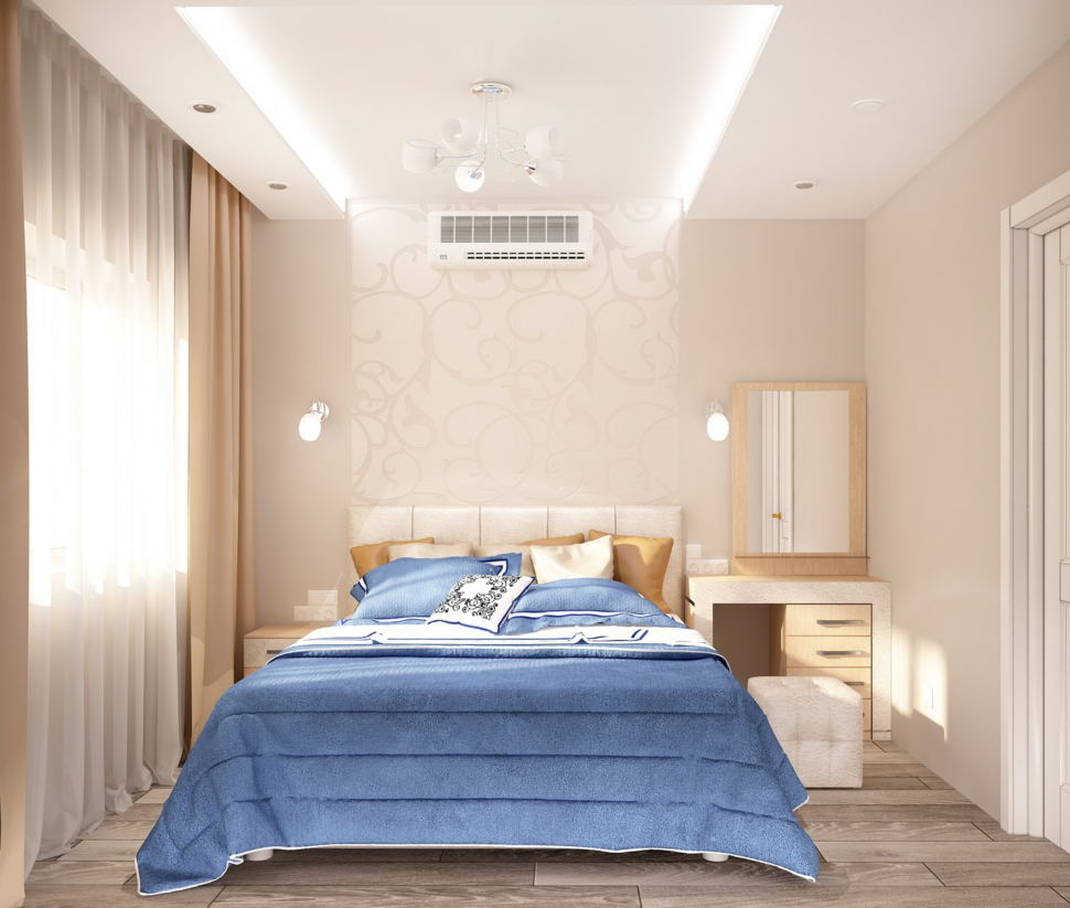 Визуализация спальни 11 кв.м в светлых тонах, синий текстиль на кровати, кровать, белый туалетный столик, пуф, светильники, портьеры