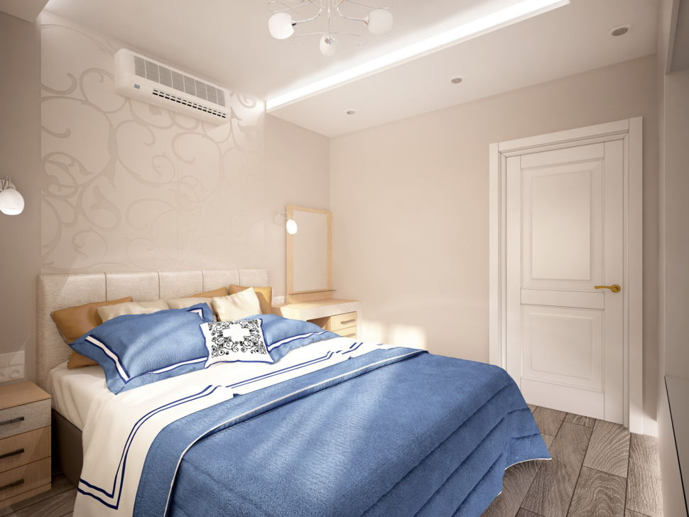 Интерьер спальни 11 кв.м в бежевых отенках с синими акцентами, туалетный столик, тумба, кровать, бра, ламинат, зеркало, кондиционер