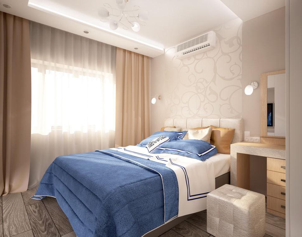 Визуализация спальни 11 кв.м в бежевых тонах с синими акцентами, бежевые портьеры, туалетный столик, белый пуф, кровать, бра