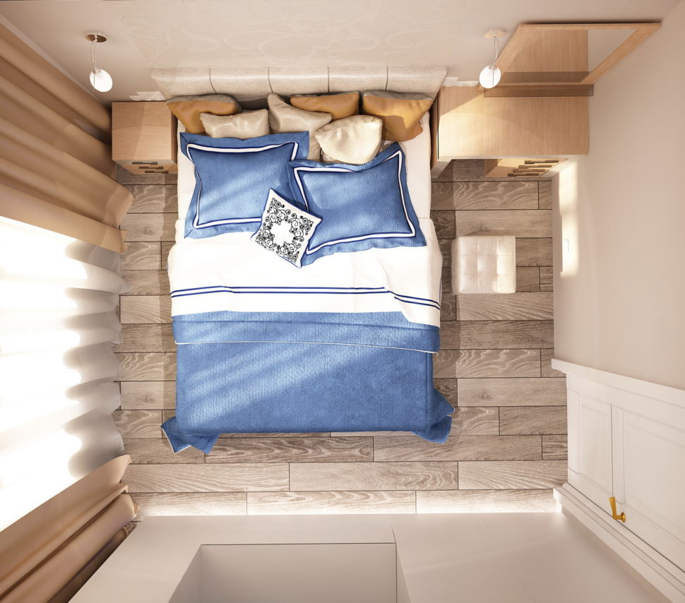 Дизайн-интерьера спальни 11 кв.м в бежевых тонах с синими акцентами, туалетный столик, тумба, кровать, бра