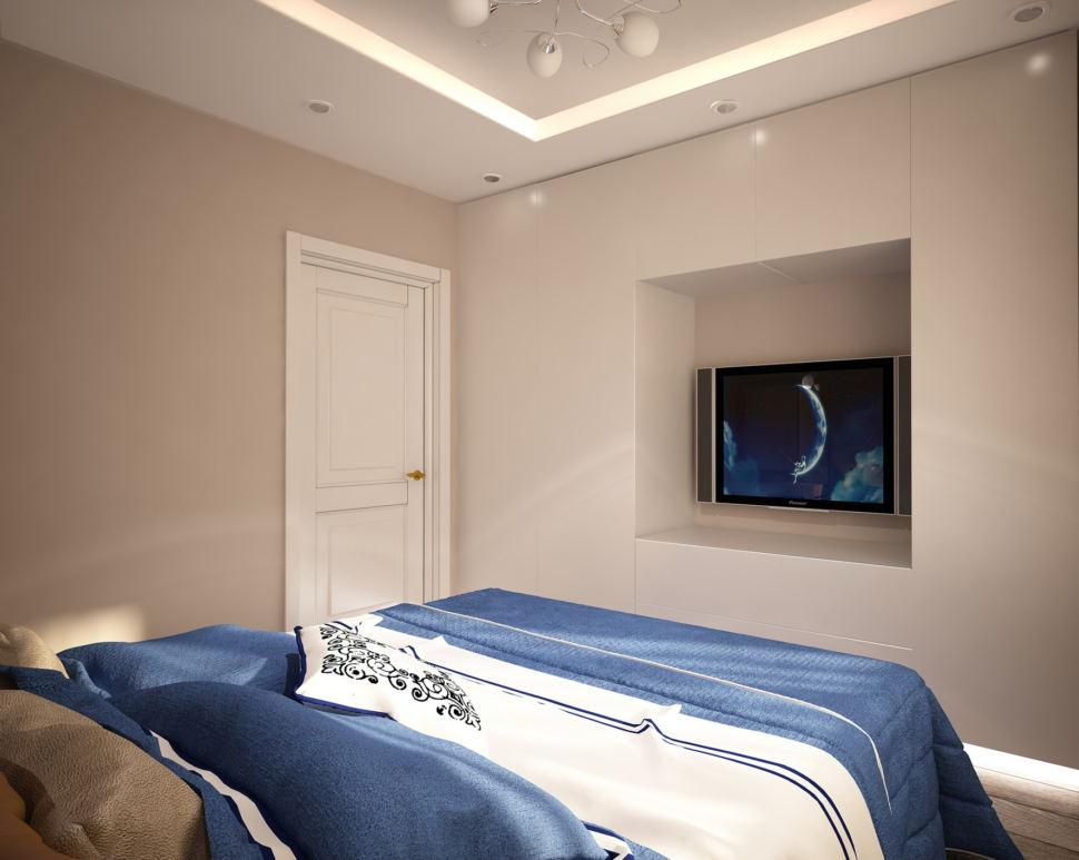 Визуализация спальни 11 кв.м в теплых тонах с синими акцентами, туалетный столик, тумба, кровать, бежевые портьеры, белый пуф