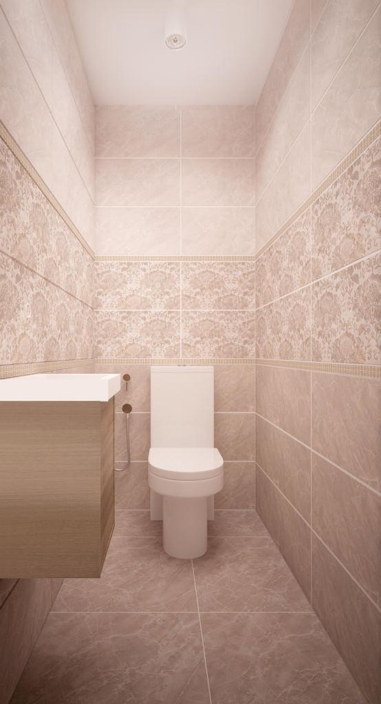 Интерьер санузла 2 кв.м , унитаз, раковина, тумба, унитаз, белые накладные светильники, бежевая керамическая плитка