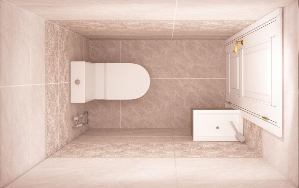 Визуализация санузла 2 кв.м, белый унитаз, бежевая керамическая плитка, мрамор, мойка, дверь, потолочные светильники
