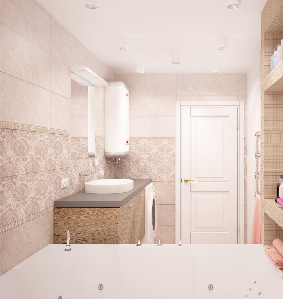 Интерьер ванной комнаты 6 кв.м в бежевых оттенках, керамическая плитка под мрамор, бойлер, стиральная машина, ванна