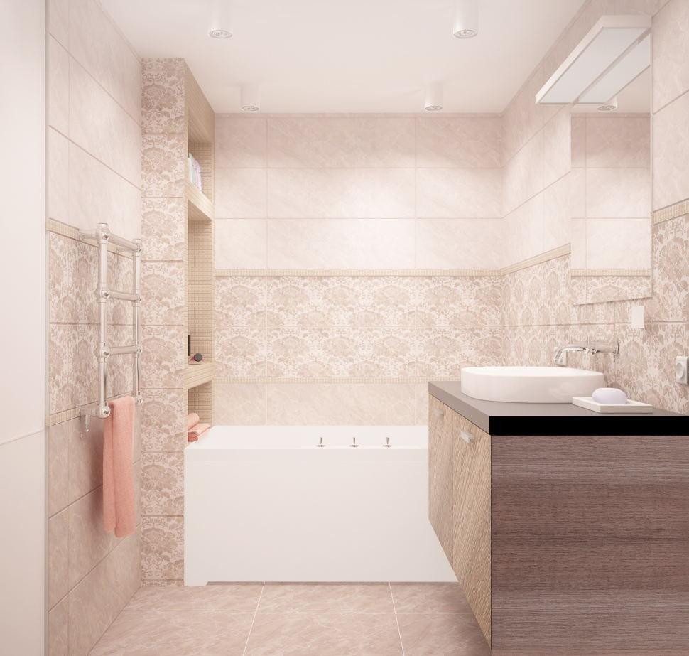 Визуализация ванной комнаты 6 кв.м в теплых оттенках,тумба под дерево, ванна, керамическая плитка, зеркало, раковина