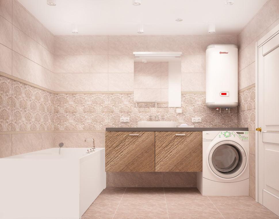 Интерьер ванной комнаты 6 кв.м в бежевых оттенках, стиральная машинка, керамическая плитка, тумба под дерево, ванна, раковина