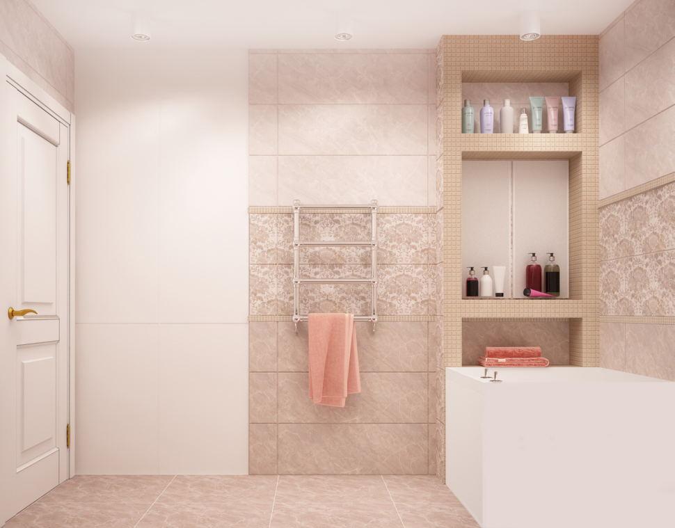 Дизайн-проект ванной комнаты 6 кв.м в бежевых оттенках, керамическая плитка, полочки - ниши, белый шкаф, ванна, белые потолочные светильники