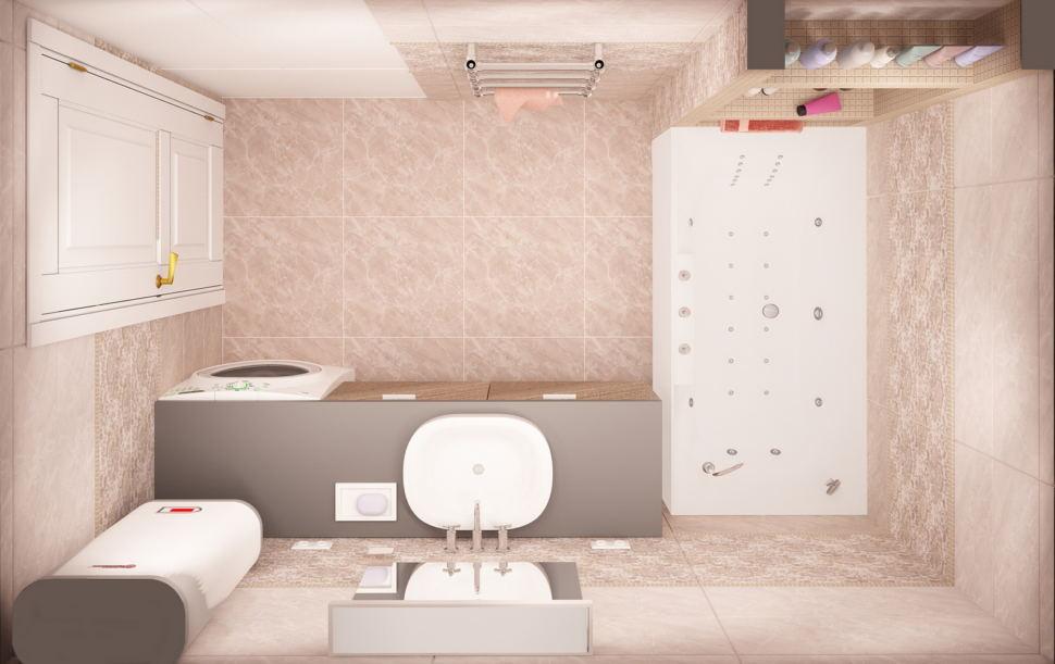 Интерьер ванной комнаты 6 кв.м в бежевых тонах, стиральная машинка, керамическая плитка, тумба под дерево, ванна, раковина