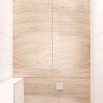 Проект санузла 2 кв.м в светлых тонах, белый унитаз, белый шкаф под бойлер, керамический гранит