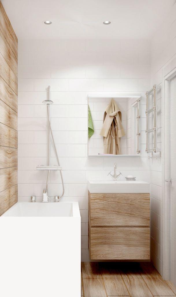 Проект ванной комнаты 3 кв.м в светлых тонах, зеркало, тумба под дерево, ванна, светильники, плитка